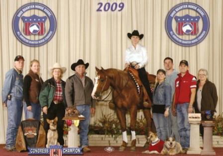 2009 All American Quarter Horse Congress Intermediate Non Pro Co-Champion and Limited Non Pro Co-Reserve Champion.  Marked a 215.5!
